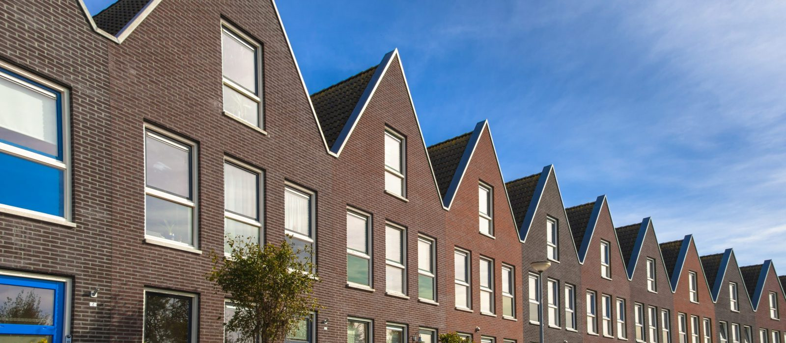 Modern Street with Terraced Real Estate for Families in the Netherlands